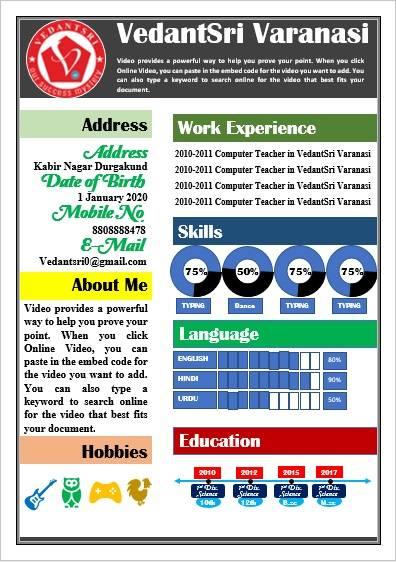 Ms Word Design Resume 2020 by VedantSri varanasi